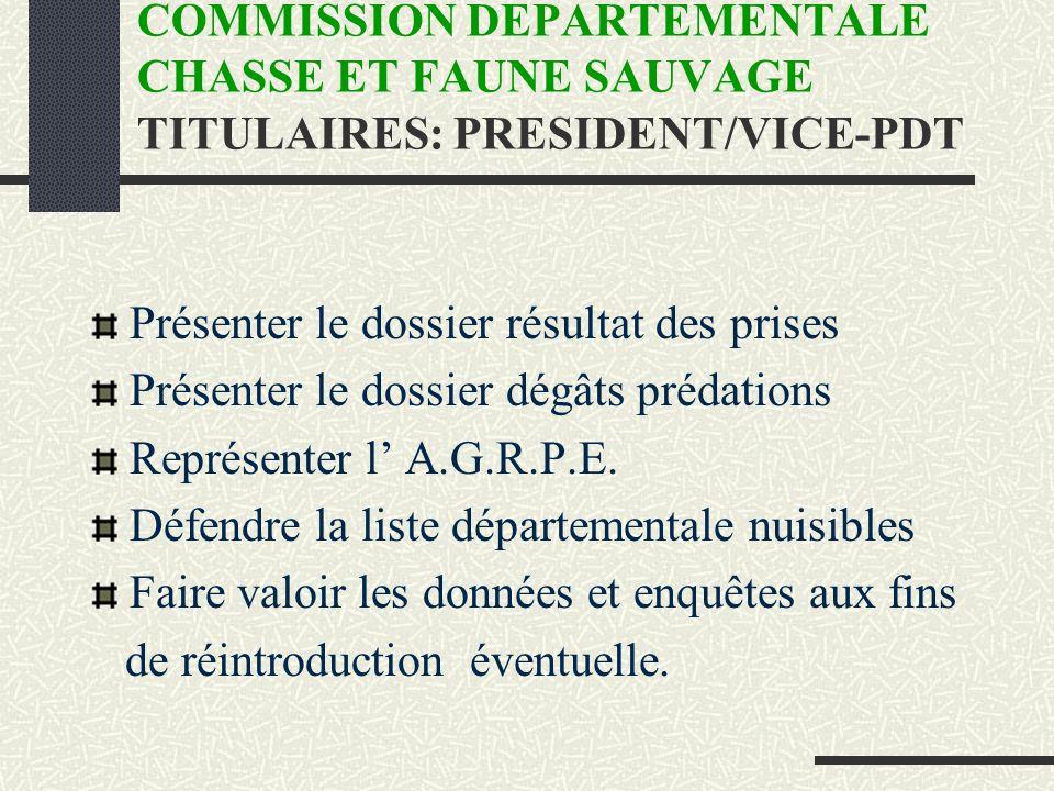 COMMISSION DEPARTEMENTALE CHASSE ET FAUNE SAUVAGE TITULAIRES: PRESIDENT/VICE-PDT Présenter le dossier résultat des prises Présenter le dossier dégâts prédations Représenter l A.G.R.P.E.