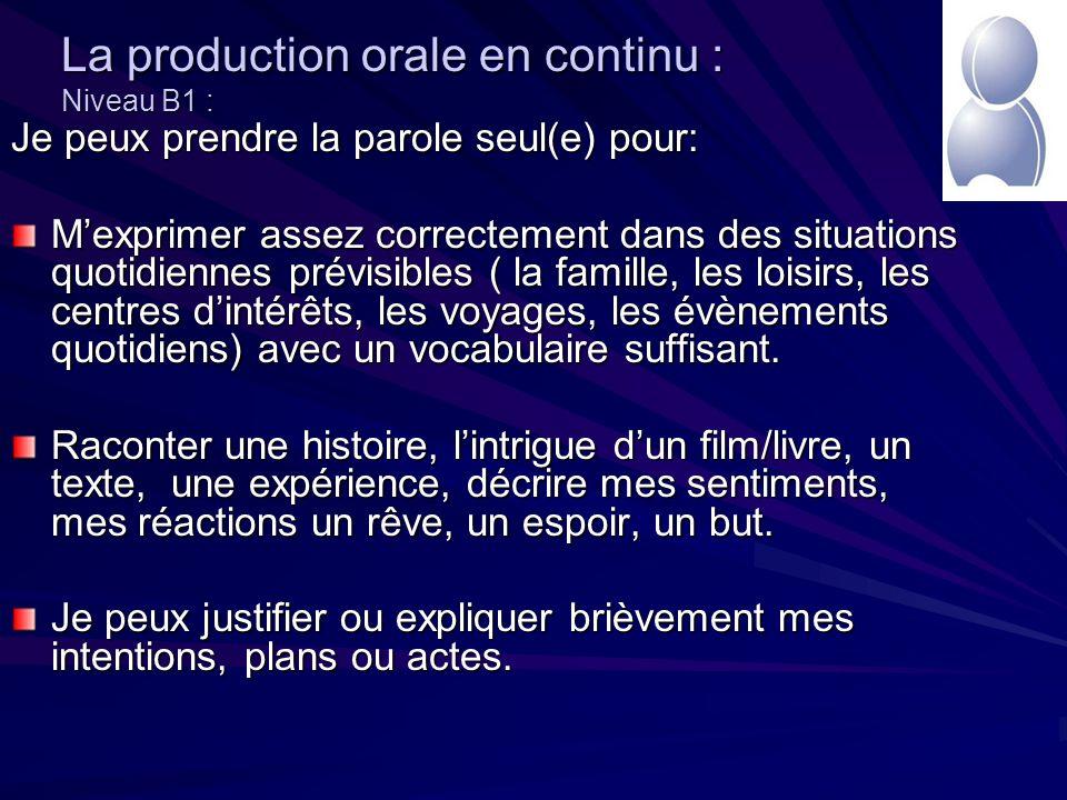 La production orale en continu : Niveau B1 : Je peux prendre la parole seul(e) pour: Mexprimer assez correctement dans des situations quotidiennes prévisibles ( la famille, les loisirs, les centres dintérêts, les voyages, les évènements quotidiens) avec un vocabulaire suffisant.