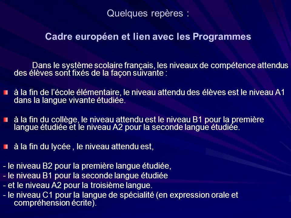 Quelques repères : Quelques repères : Cadre européen et lien avec les Programmes Dans le système scolaire français, les niveaux de compétence attendus des élèves sont fixés de la façon suivante : à la fin de lécole élémentaire, le niveau attendu des élèves est le niveau A1 dans la langue vivante étudiée.