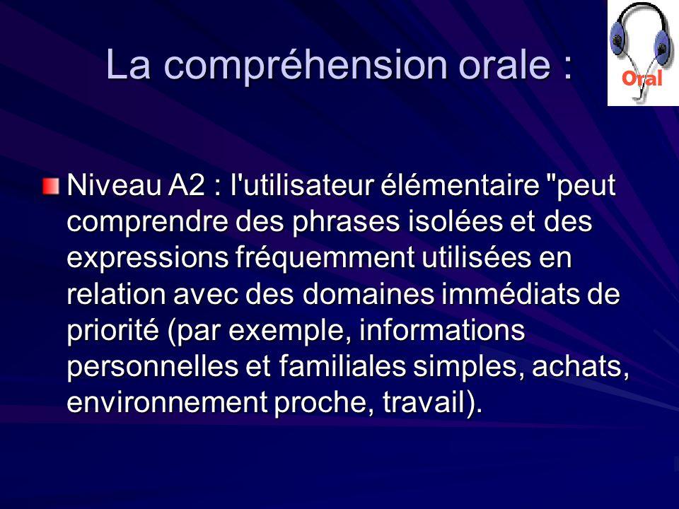 La compréhension orale : Niveau A2 : l utilisateur élémentaire peut comprendre des phrases isolées et des expressions fréquemment utilisées en relation avec des domaines immédiats de priorité (par exemple, informations personnelles et familiales simples, achats, environnement proche, travail).