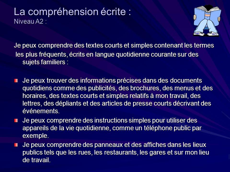 La compréhension écrite : Niveau B1 : Je peux comprendre des textes clairs relatifs à mes centres dintérêt,des écrits quotidiens tels que lettres, dépliants et courts documents officiels.