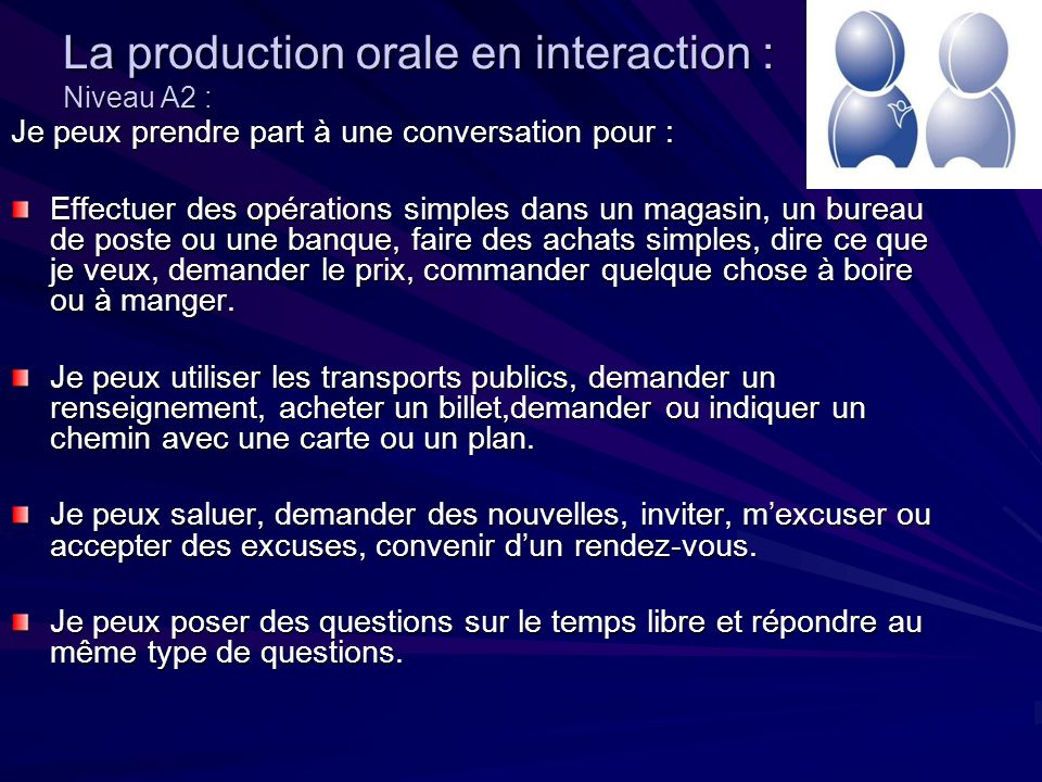 La production orale en interaction : Niveau A2 : Je peux prendre part à une conversation pour : Effectuer des opérations simples dans un magasin, un bureau de poste ou une banque, faire des achats simples, dire ce que je veux, demander le prix, commander quelque chose à boire ou à manger.