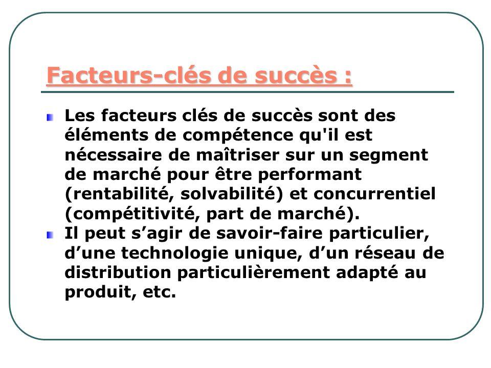 Facteurs-clés de succès : Les facteurs clés de succès sont des éléments de compétence qu'il est nécessaire de maîtriser sur un segment de marché pour