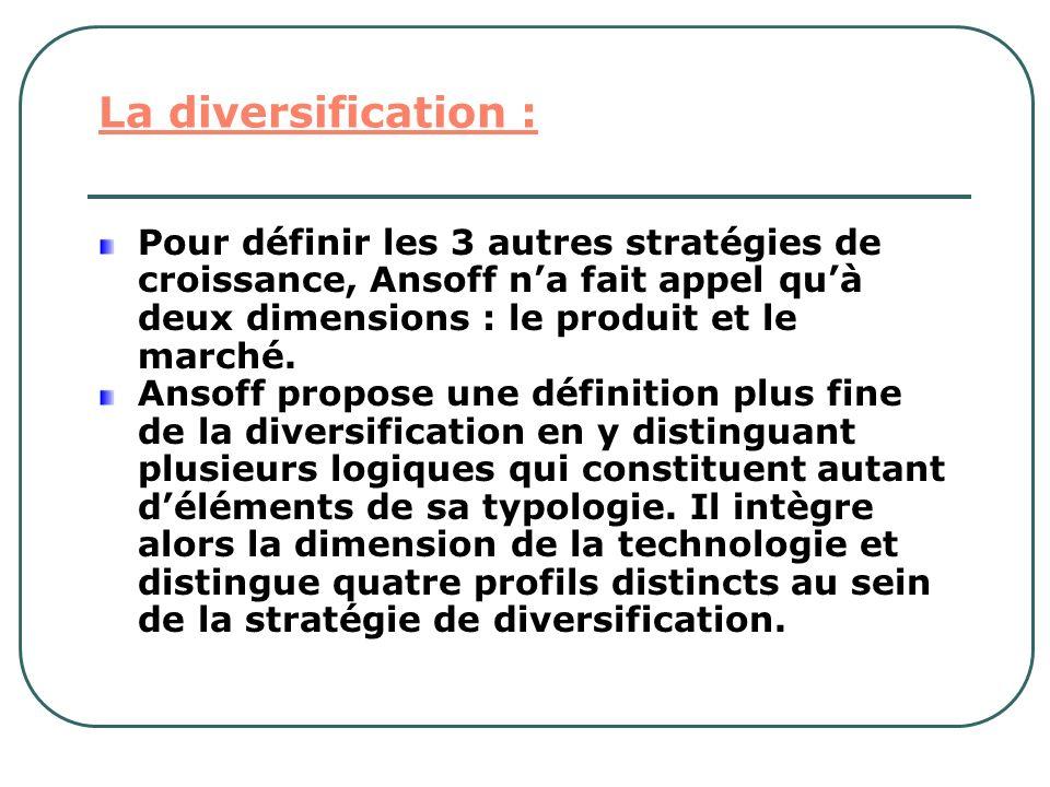 La diversification : Pour définir les 3 autres stratégies de croissance, Ansoff na fait appel quà deux dimensions : le produit et le marché. Ansoff pr