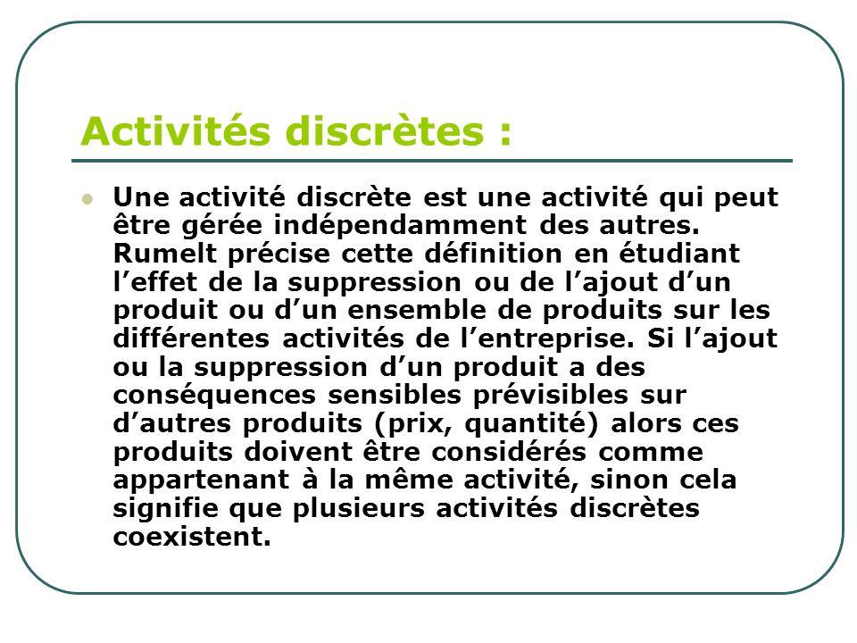 Activités discrètes : Une activité discrète est une activité qui peut être gérée indépendamment des autres. Rumelt précise cette définition en étudian