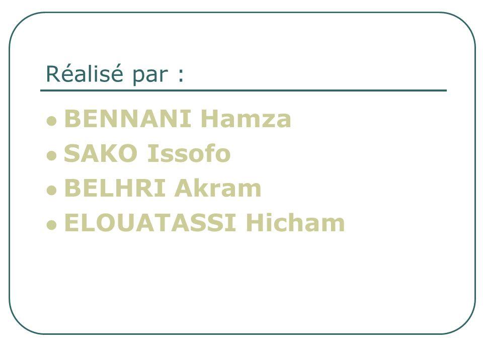 Réalisé par : BENNANI Hamza SAKO Issofo BELHRI Akram ELOUATASSI Hicham
