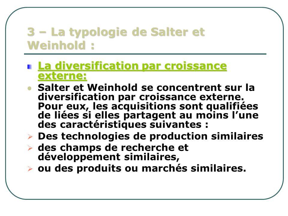 3 – La typologie de Salter et Weinhold : La diversification par croissance externe: Salter et Weinhold se concentrent sur la diversification par crois