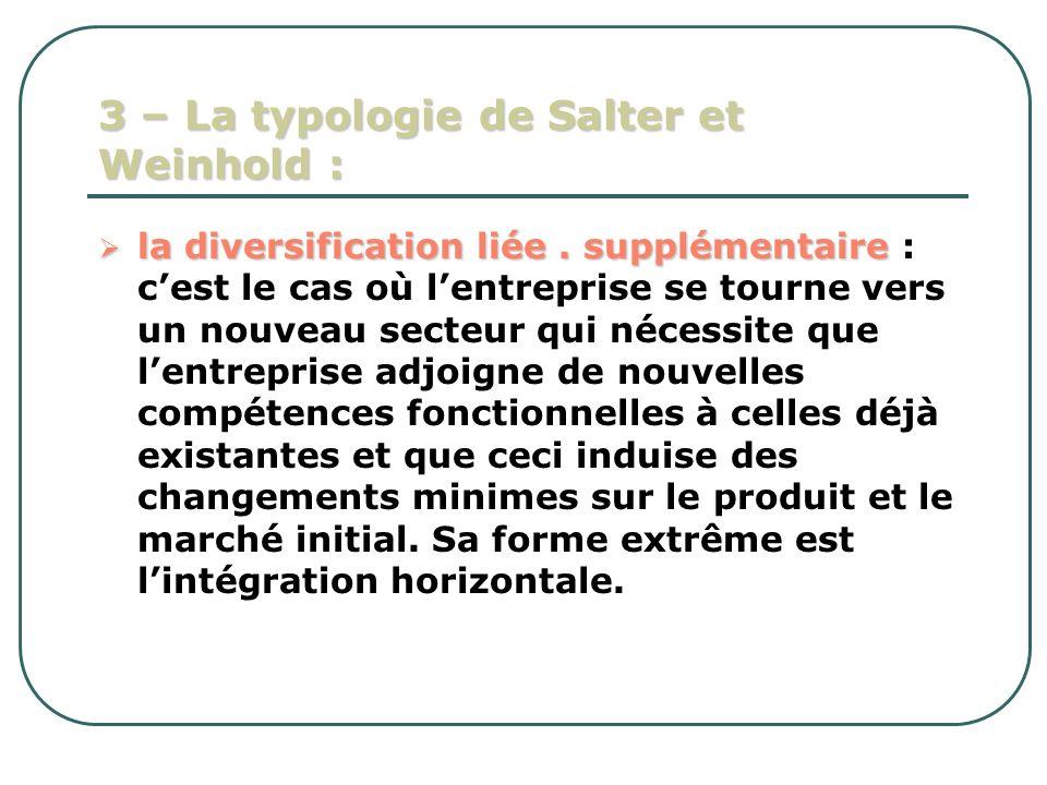3 – La typologie de Salter et Weinhold : la diversification liée. supplémentaire la diversification liée. supplémentaire : cest le cas où lentreprise