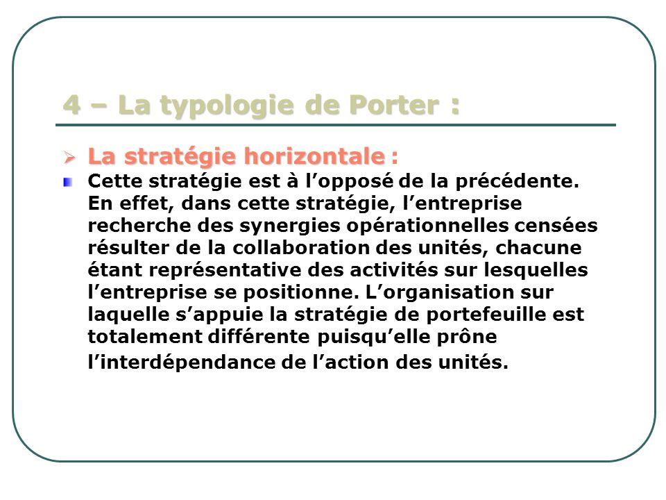 4 – La typologie de Porter : La stratégie horizontale La stratégie horizontale : Cette stratégie est à lopposé de la précédente. En effet, dans cette