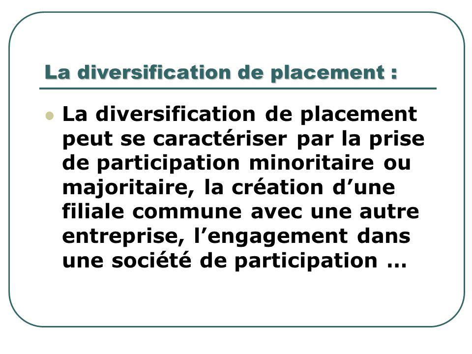 La diversification de placement : La diversification de placement peut se caractériser par la prise de participation minoritaire ou majoritaire, la cr