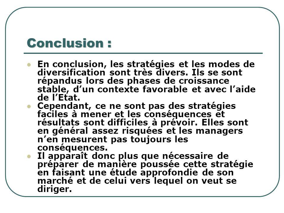 Conclusion : En conclusion, les stratégies et les modes de diversification sont très divers. Ils se sont répandus lors des phases de croissance stable