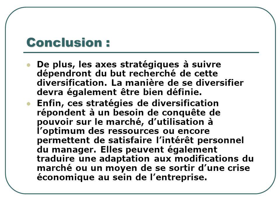 Conclusion : De plus, les axes stratégiques à suivre dépendront du but recherché de cette diversification. La manière de se diversifier devra égalemen