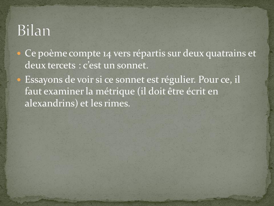 Ce poème compte 14 vers répartis sur deux quatrains et deux tercets : cest un sonnet. Essayons de voir si ce sonnet est régulier. Pour ce, il faut exa