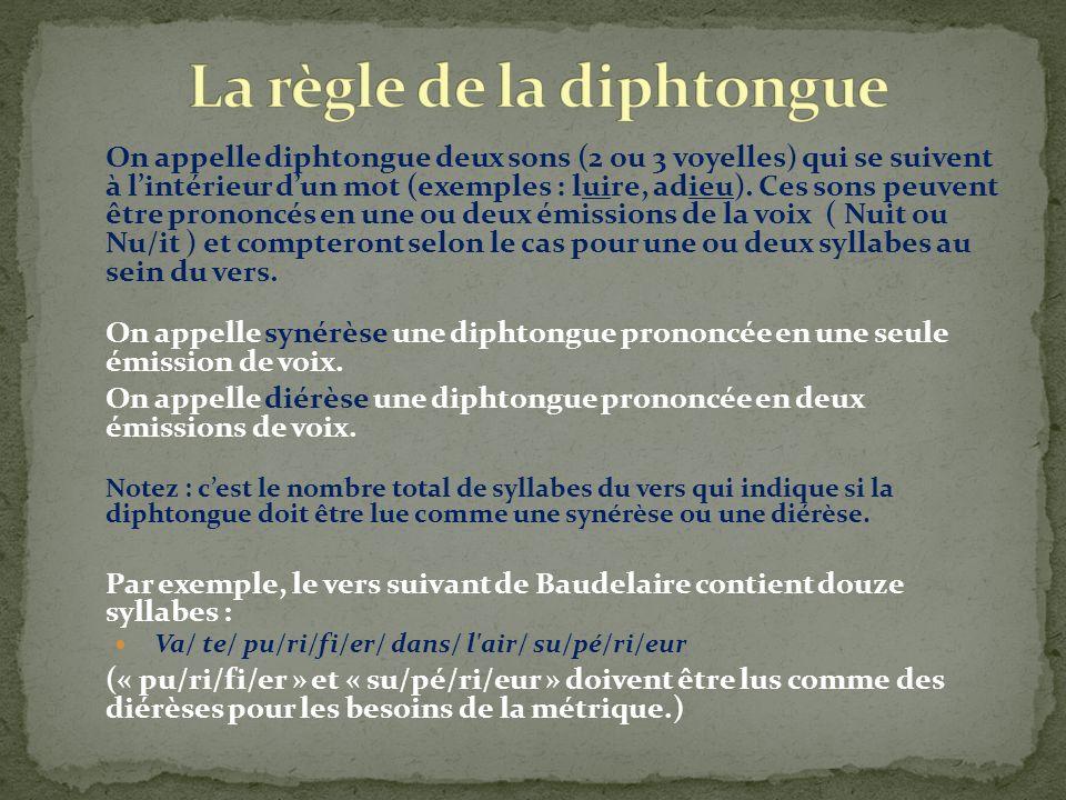 On appelle diphtongue deux sons (2 ou 3 voyelles) qui se suivent à lintérieur dun mot (exemples : luire, adieu). Ces sons peuvent être prononcés en un