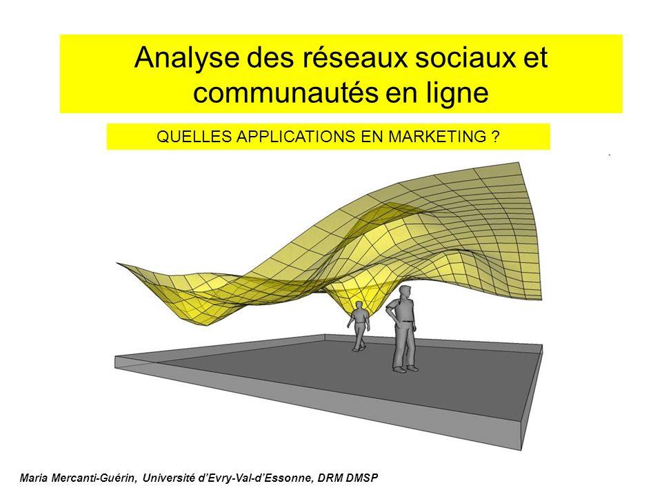 Analyse des réseaux sociaux et communautés en ligne Maria Mercanti-Guérin, Université dEvry-Val-dEssonne, DRM DMSP QUELLES APPLICATIONS EN MARKETING ?