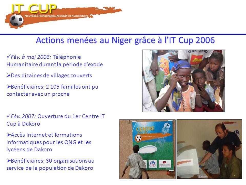 Actions menées au Niger grâce à lIT Cup 2006 Fév. à mai 2006: Téléphonie Humanitaire durant la période dexode Des dizaines de villages couverts Bénéfi