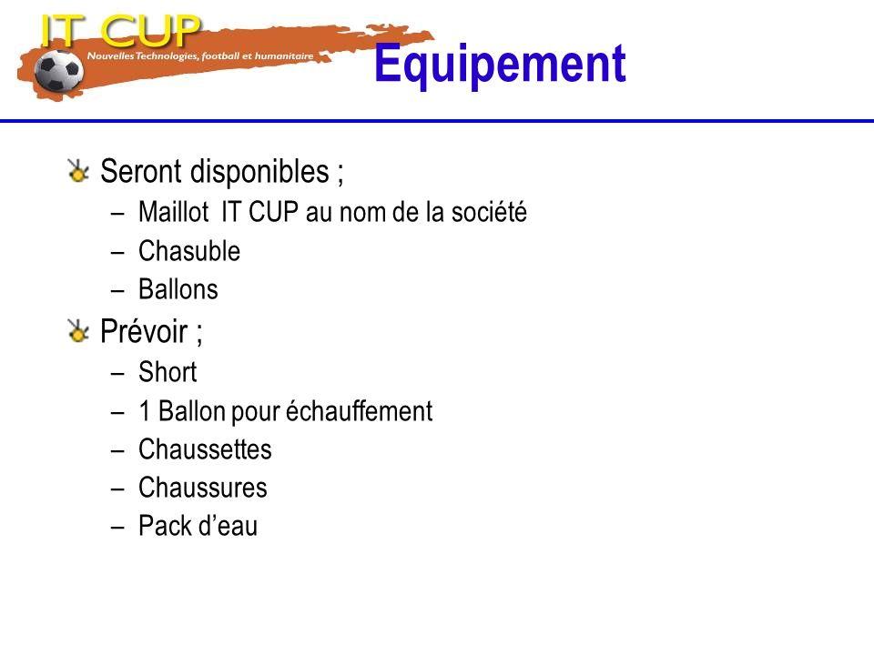 Equipement Seront disponibles ; –Maillot IT CUP au nom de la société –Chasuble –Ballons Prévoir ; –Short –1 Ballon pour échauffement –Chaussettes –Cha