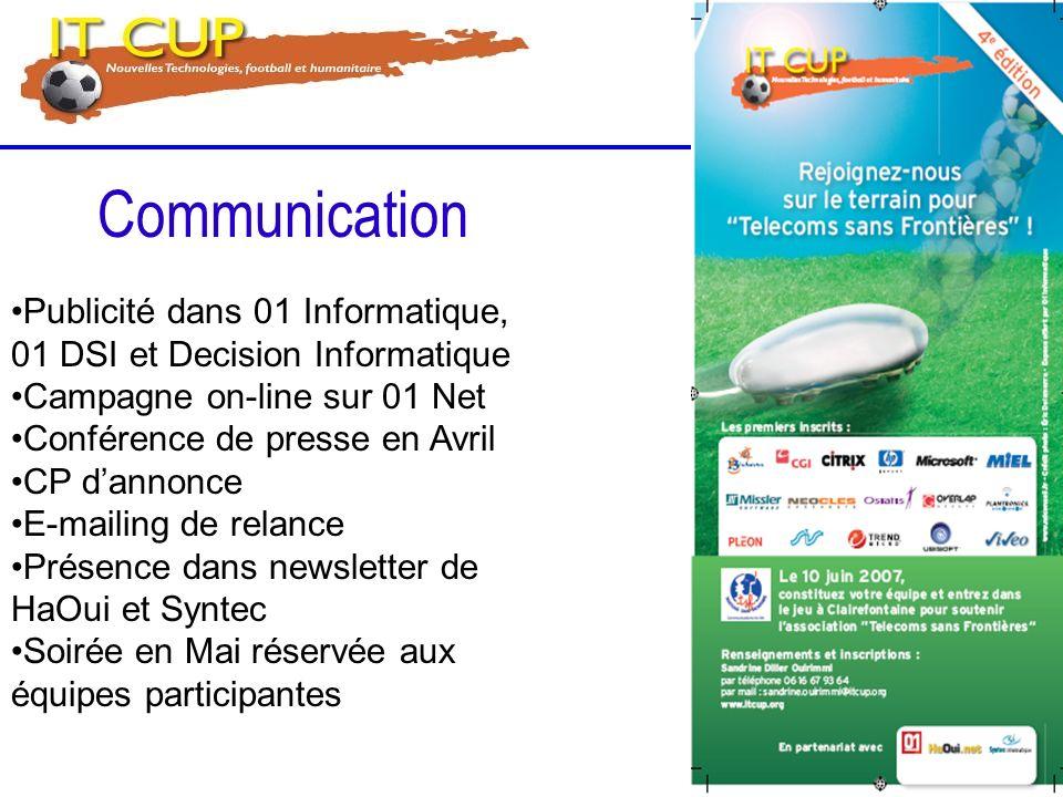 Publicité dans 01 Informatique, 01 DSI et Decision Informatique Campagne on-line sur 01 Net Conférence de presse en Avril CP dannonce E-mailing de rel