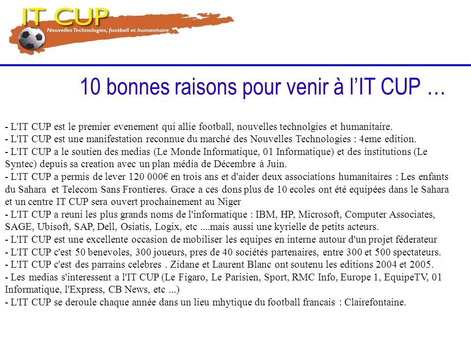 10 bonnes raisons pour venir à lIT CUP … - L'IT CUP est le premier evenement qui allie football, nouvelles technolgies et humanitaire. - L'IT CUP est