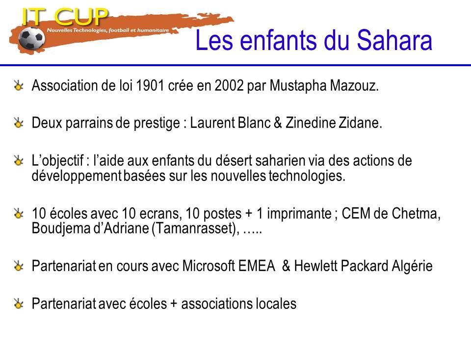 Association de loi 1901 crée en 2002 par Mustapha Mazouz. Deux parrains de prestige : Laurent Blanc & Zinedine Zidane. Lobjectif : laide aux enfants d
