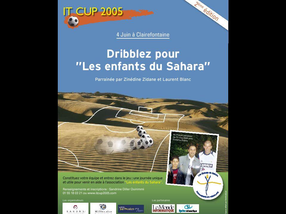 Bilan 2005 Clairefontaine 38 equipes 480 joueurs 600 spectateurs Retombées presse (01, LMI, Distributique, CB News, lExpress, TMC, Equip TV, Europe 1, ….) Vainqueur …..Air France.