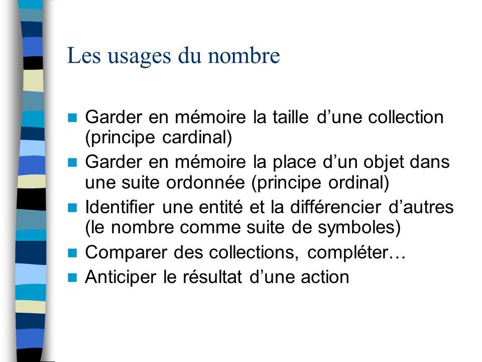 Les usages du nombre Garder en mémoire la taille dune collection (principe cardinal) Garder en mémoire la place dun objet dans une suite ordonnée (pri