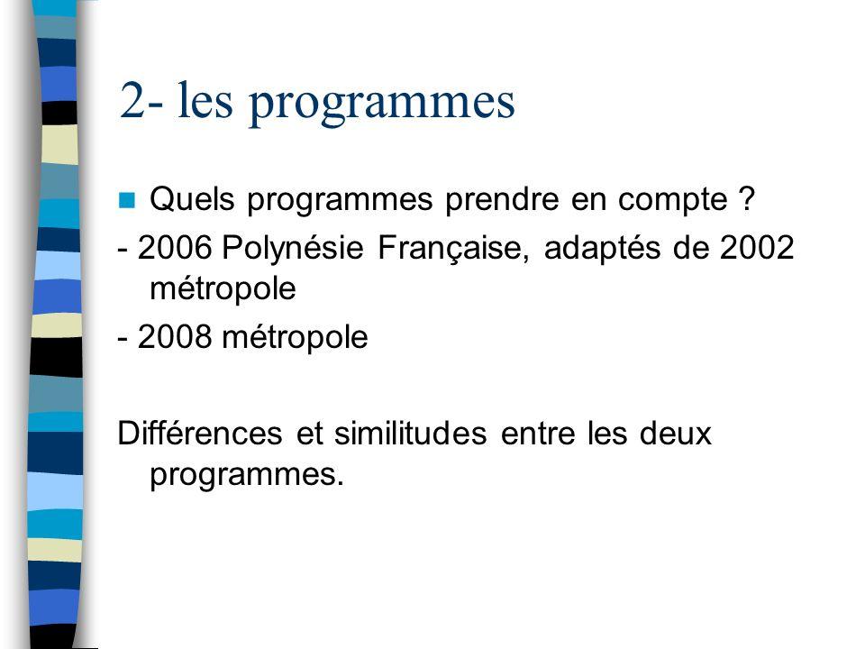 2- les programmes Quels programmes prendre en compte ? - 2006 Polynésie Française, adaptés de 2002 métropole - 2008 métropole Différences et similitud
