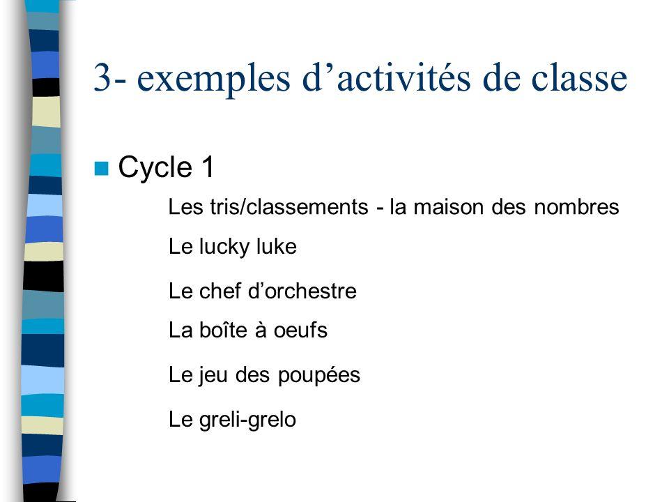 3- exemples dactivités de classe Cycle 1 Les tris/classements - la maison des nombres La boîte à oeufs Le lucky luke Le chef dorchestre Le jeu des pou