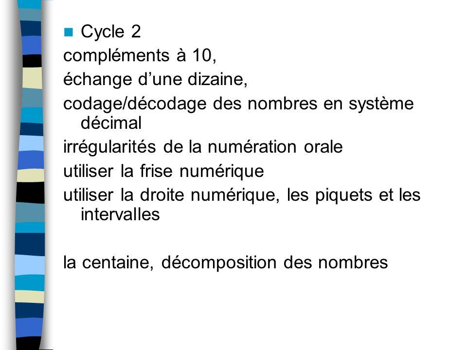 Cycle 2 compléments à 10, échange dune dizaine, codage/décodage des nombres en système décimal irrégularités de la numération orale utiliser la frise