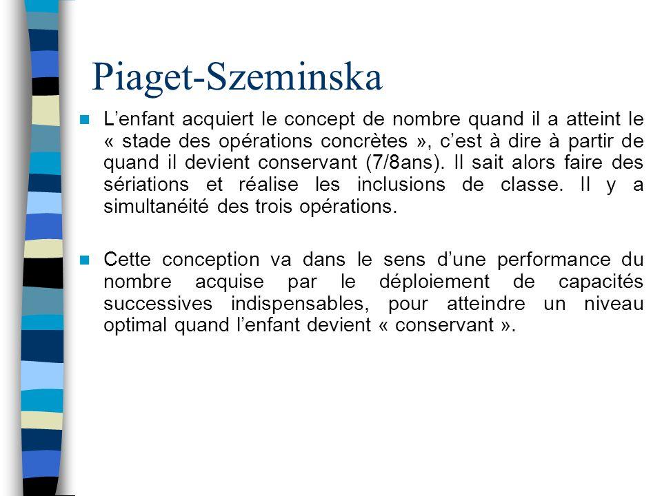 Piaget-Szeminska Lenfant acquiert le concept de nombre quand il a atteint le « stade des opérations concrètes », cest à dire à partir de quand il devi