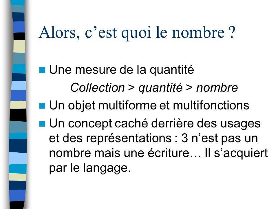 Alors, cest quoi le nombre ? Une mesure de la quantité Collection > quantité > nombre Un objet multiforme et multifonctions Un concept caché derrière