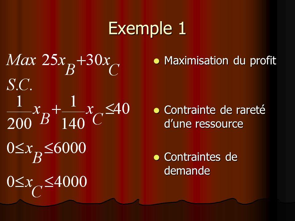 Exemple 1 Maximisation du profit Maximisation du profit Contrainte de rareté dune ressource Contrainte de rareté dune ressource Contraintes de demande