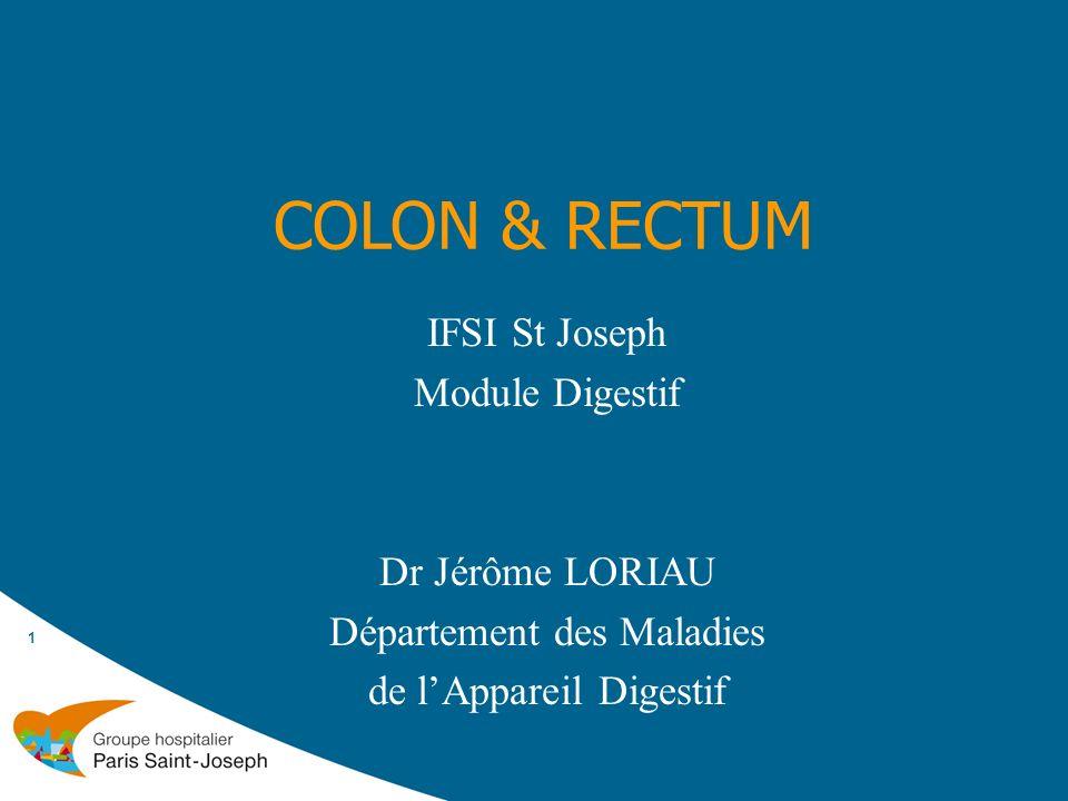 COLON & RECTUM 1 IFSI St Joseph Module Digestif Dr Jérôme LORIAU Département des Maladies de lAppareil Digestif