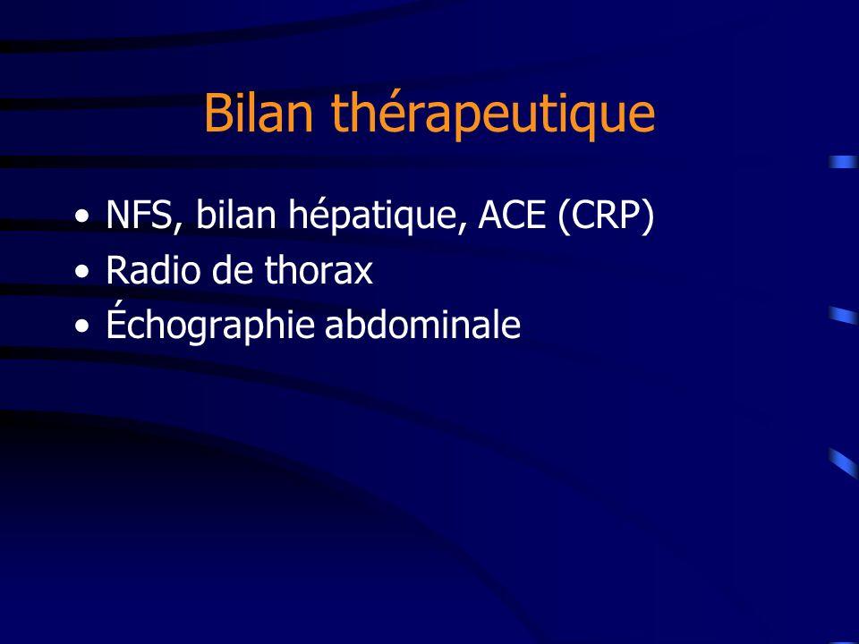 Bilan thérapeutique NFS, bilan hépatique, ACE (CRP) Radio de thorax Échographie abdominale