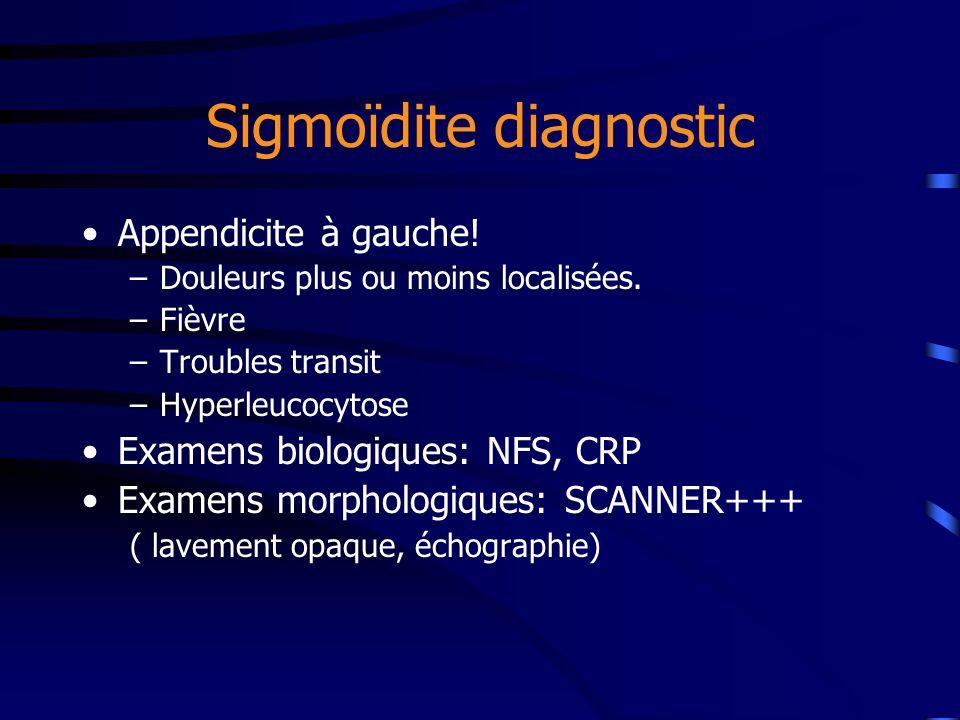 Sigmoïdite diagnostic Appendicite à gauche! –Douleurs plus ou moins localisées. –Fièvre –Troubles transit –Hyperleucocytose Examens biologiques: NFS,
