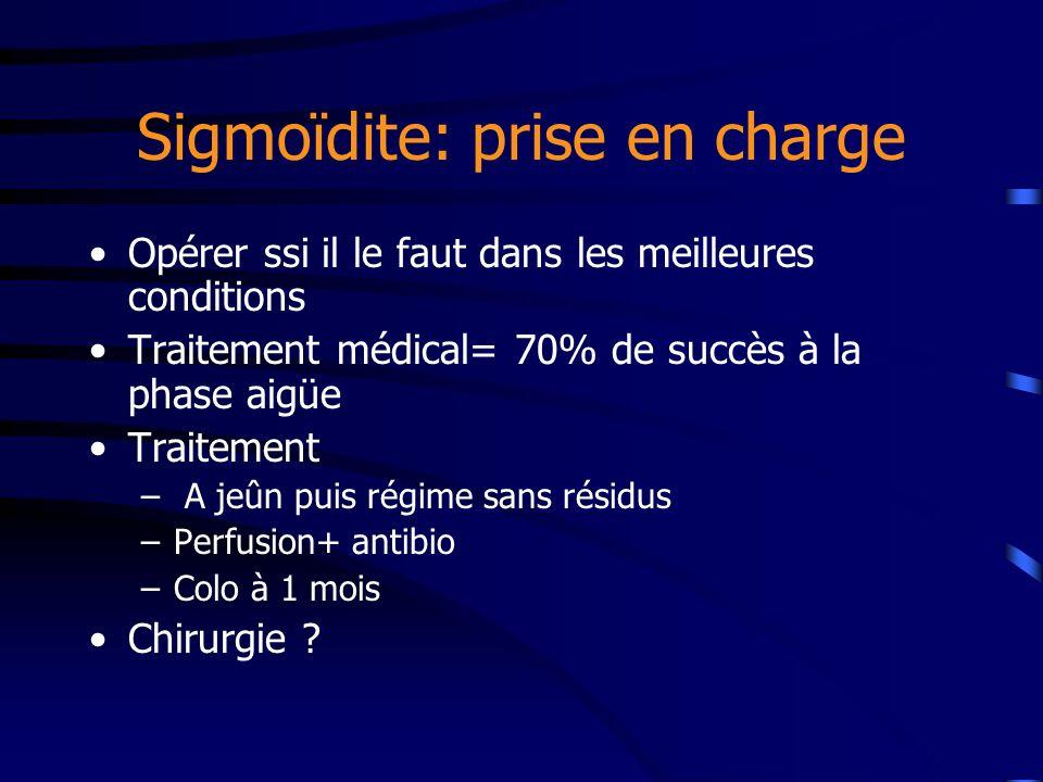 Sigmoïdite: prise en charge Opérer ssi il le faut dans les meilleures conditions Traitement médical= 70% de succès à la phase aigüe Traitement – A jeû
