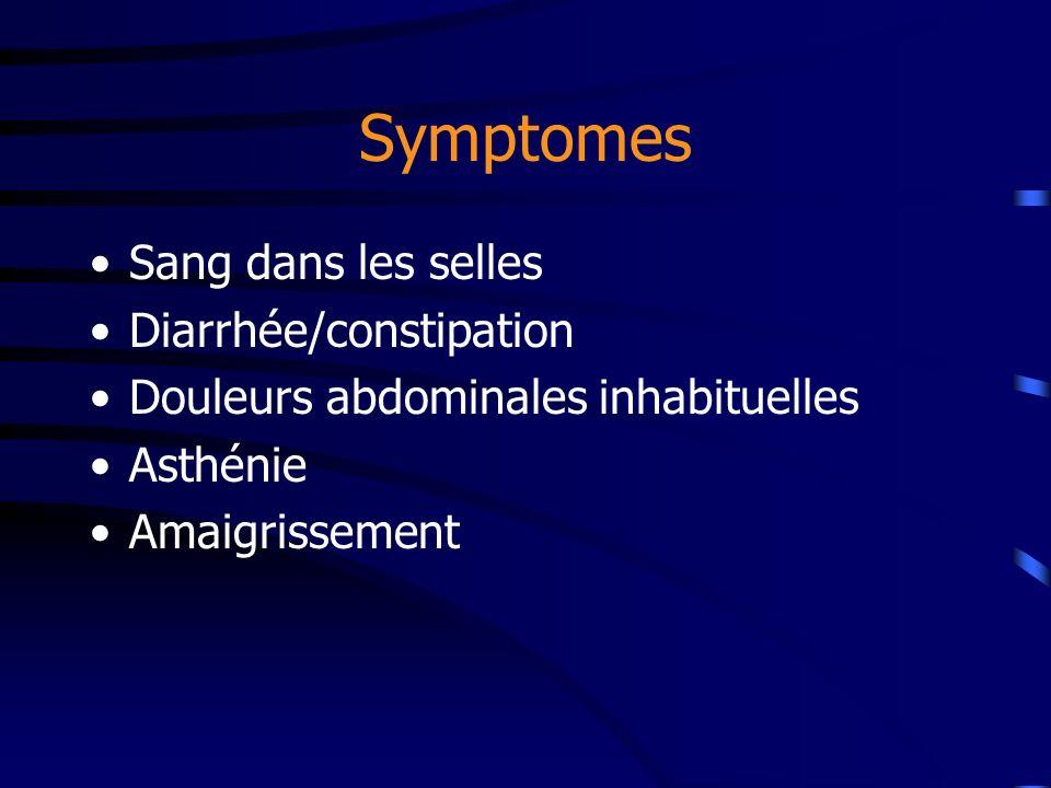 Symptomes Sang dans les selles Diarrhée/constipation Douleurs abdominales inhabituelles Asthénie Amaigrissement
