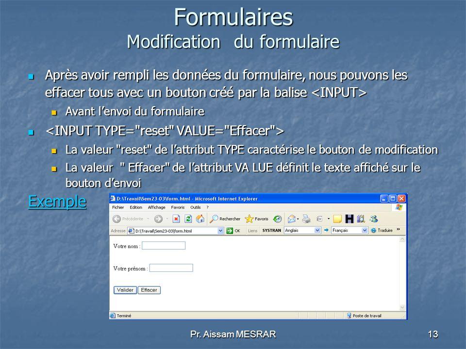 Pr. Aissam MESRAR13 Formulaires Modification du formulaire Après avoir rempli les données du formulaire, nous pouvons les effacer tous avec un bouton