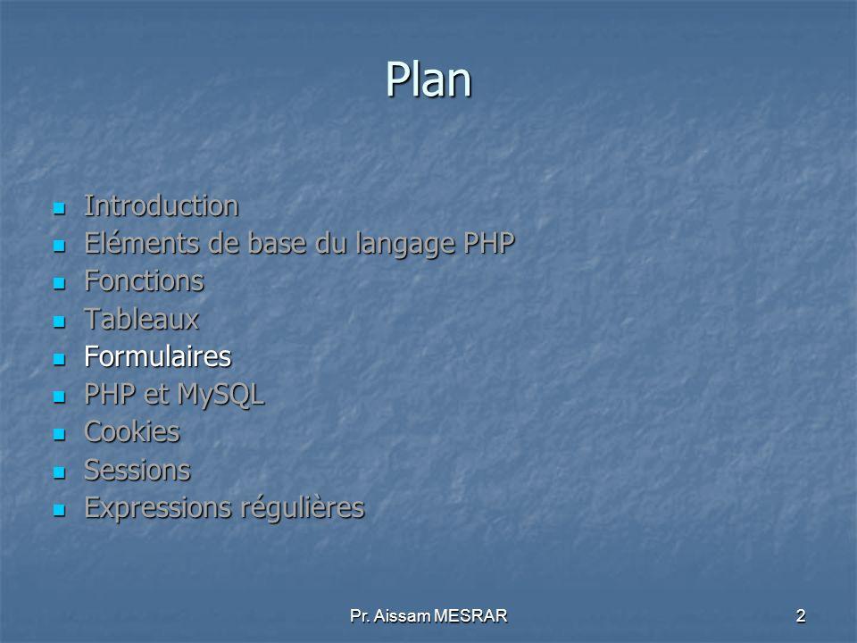 2 Plan Introduction Introduction Eléments de base du langage PHP Eléments de base du langage PHP Fonctions Fonctions Tableaux Tableaux Formulaires For