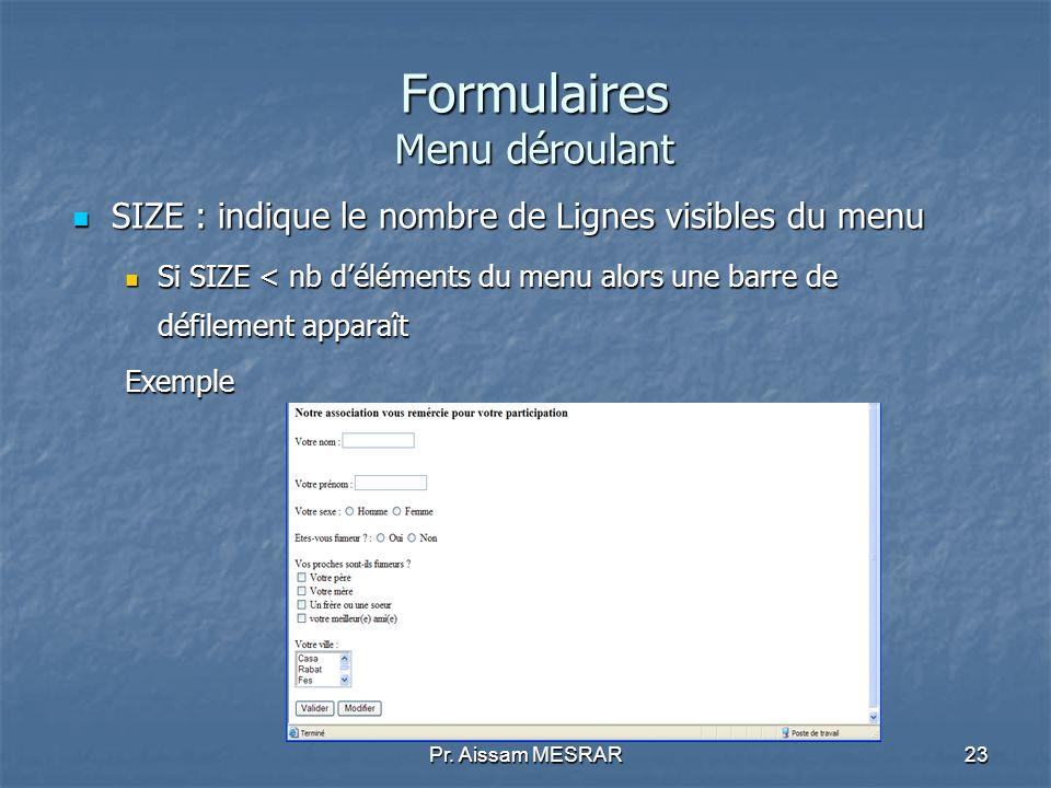 Pr. Aissam MESRAR23 Formulaires Menu déroulant SIZE : indique le nombre de Lignes visibles du menu SIZE : indique le nombre de Lignes visibles du menu