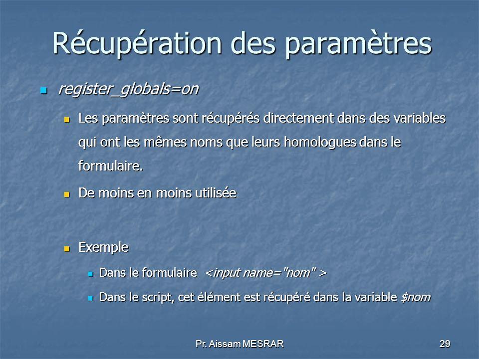 Pr. Aissam MESRAR29 Récupération des paramètres register_globals=on register_globals=on Les paramètres sont récupérés directement dans des variables q
