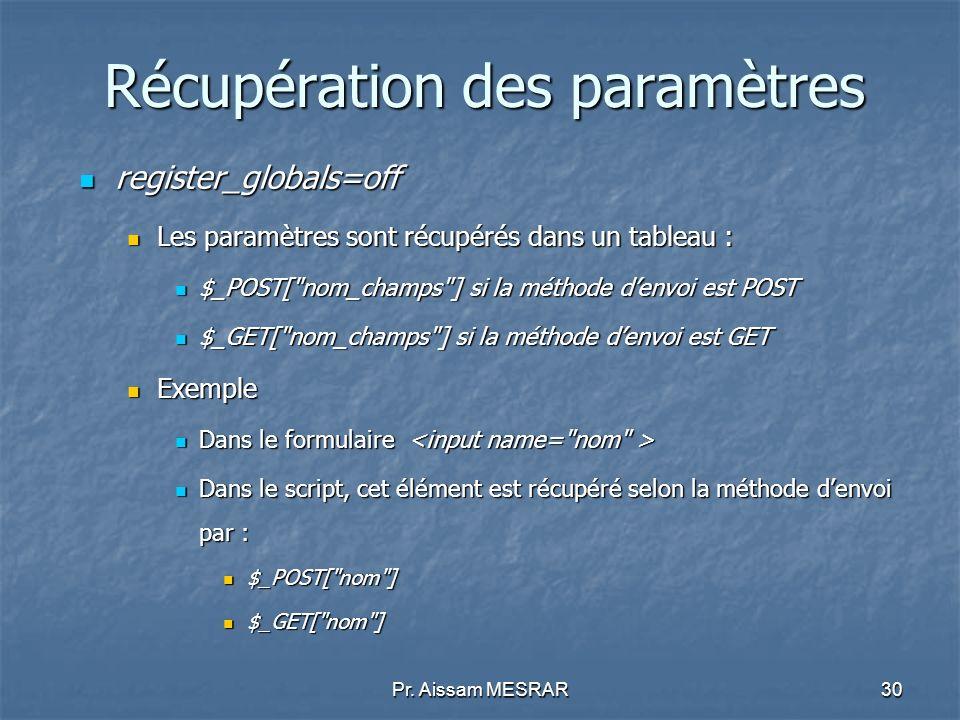 Pr. Aissam MESRAR30 Récupération des paramètres register_globals=off register_globals=off Les paramètres sont récupérés dans un tableau : Les paramètr
