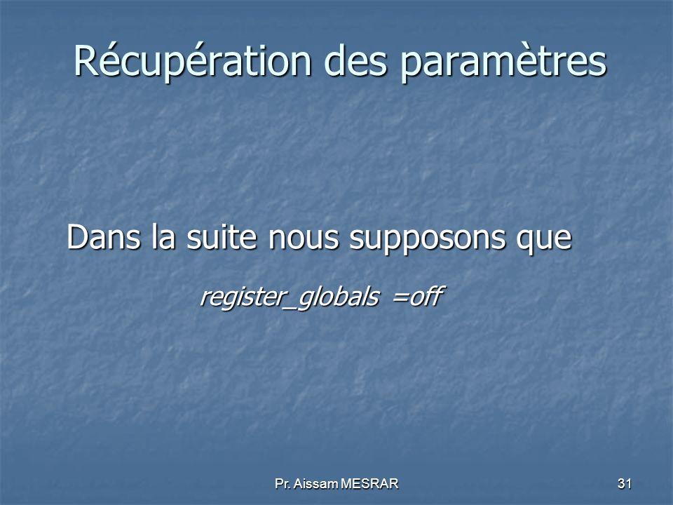 Pr. Aissam MESRAR31 Récupération des paramètres Dans la suite nous supposons que register_globals =off