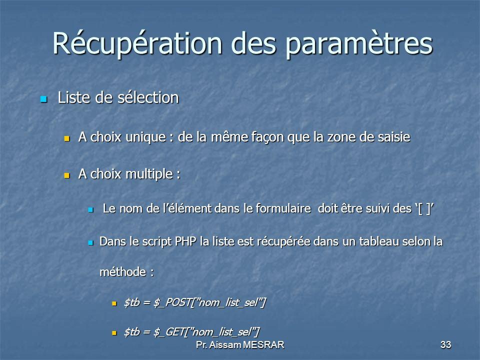 Pr. Aissam MESRAR33 Récupération des paramètres Liste de sélection Liste de sélection A choix unique : de la même façon que la zone de saisie A choix
