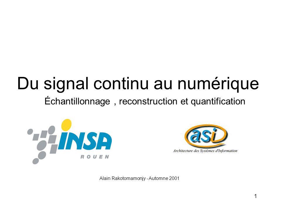 1 Du signal continu au numérique Alain Rakotomamonjy - Automne 2001 Échantillonnage, reconstruction et quantification