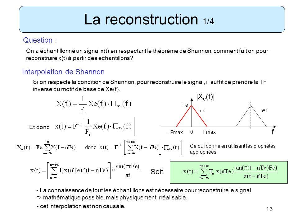 13 La reconstruction 1/4 Question : On a échantillonné un signal x(t) en respectant le théorème de Shannon, comment fait on pour reconstruire x(t) à p