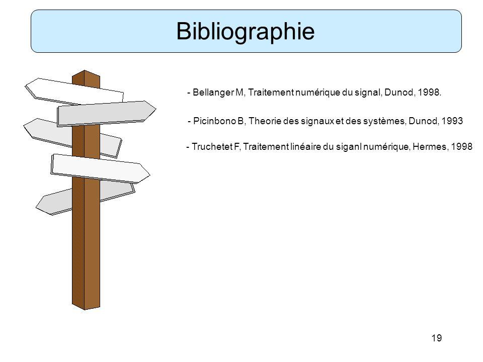 19 Bibliographie - Bellanger M, Traitement numérique du signal, Dunod, 1998. - Picinbono B, Theorie des signaux et des systèmes, Dunod, 1993 - Truchet