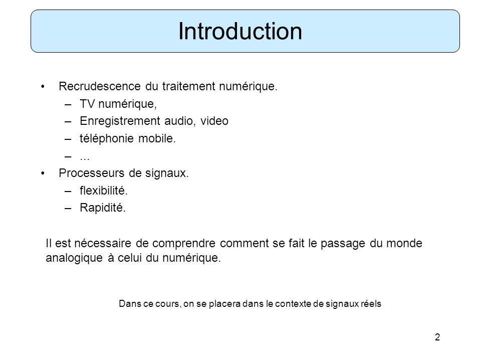 2 Introduction Recrudescence du traitement numérique. –TV numérique, –Enregistrement audio, video –téléphonie mobile. –... Processeurs de signaux. –fl