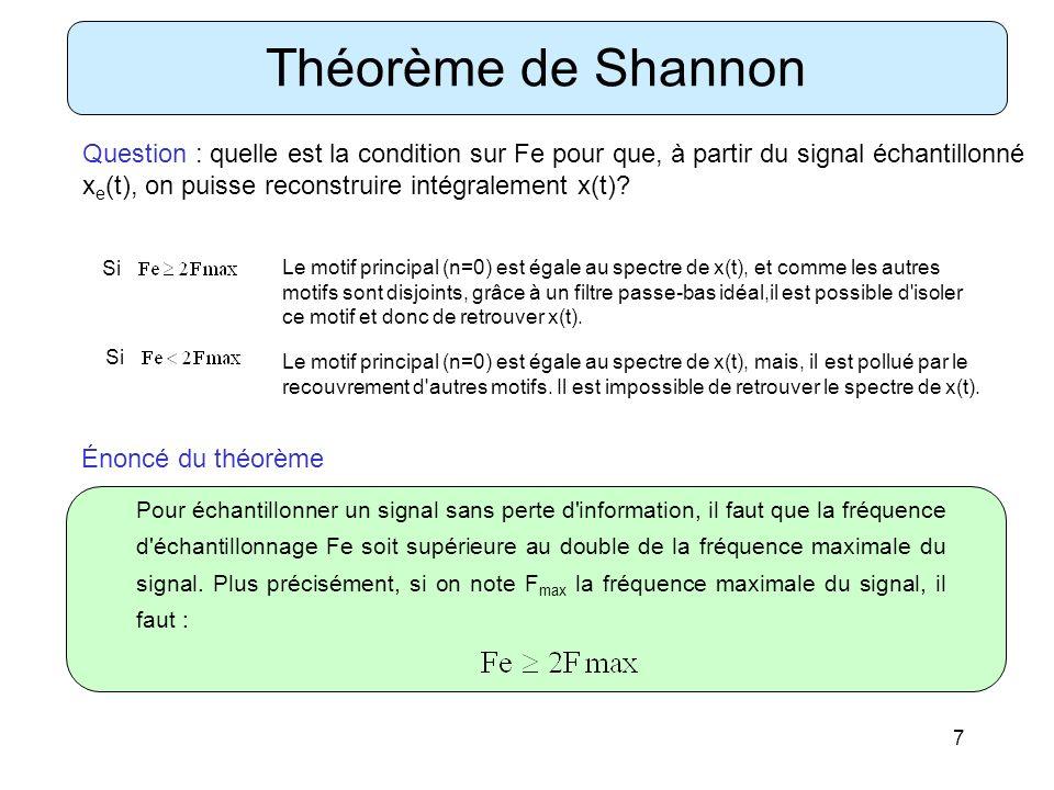 7 Théorème de Shannon Question : quelle est la condition sur Fe pour que, à partir du signal échantillonné x e (t), on puisse reconstruire intégraleme