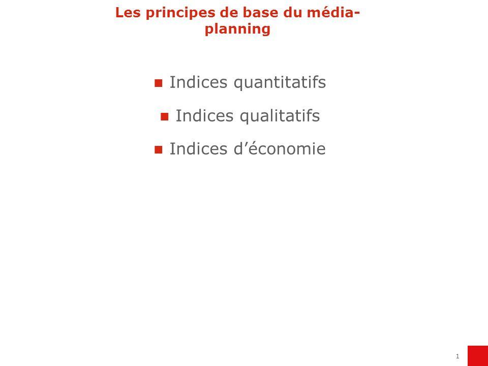 1 Les principes de base du média- planning Indices quantitatifs Indices qualitatifs Indices déconomie